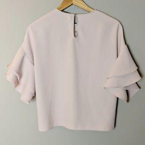 Zara Tops - Zara Pale Pink Ruffle Sleeve Blouse sz XS